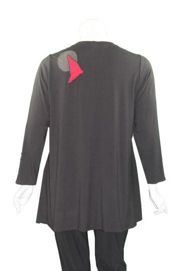 Ela Plus Size Black Applique Pullover Tunic E1000