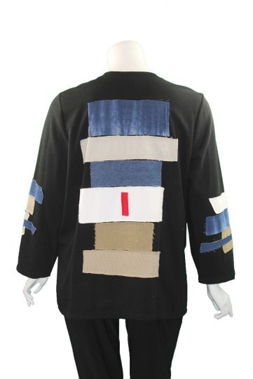 Ela Plus Size Black Patch Work Sweatshirt 979