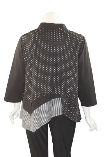 Redwood Court Plus Size Black Polka Dot Layered Top T701C