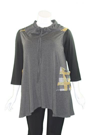 Avivit Yizhar Plus Size Grey/Yellow Sleeveless Cowl Neck Pullover 4210