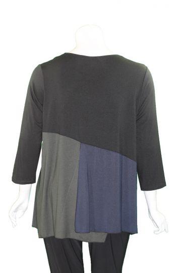 Comfy Plus Size Black/Navy/Olive Color Block Top M1017