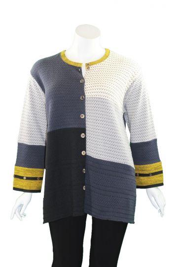 Margaret Winters Plus Size Color Block Button Sweater BD640-3