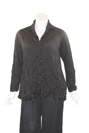 Comfy Plus Size Black Crinkle Lynn Shirt WCD147