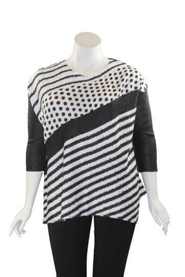 Berek Plus Size Black/White Striped/Polka Dot Crushed Tunic L32810Y