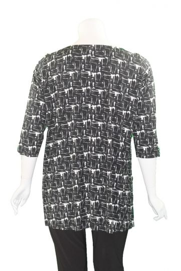 Q' Neel Plus Size Black/White Printed 2 Pocket Tunic 83188-8708