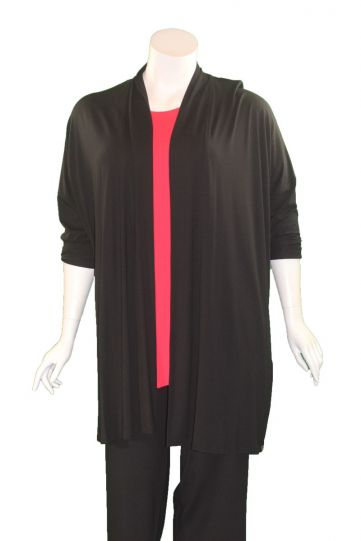 Q' Neel Plus Size Black Open Front Jacket 87598-2428-90
