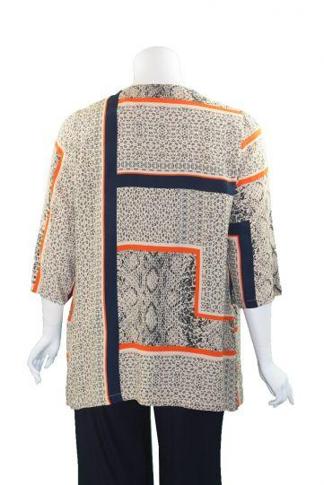Q'Neel Plus Size Navy/Orange/Tan Printed Tunic 83037-8689