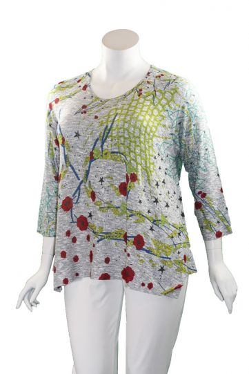 Atelier 5 Plus Size Red Floral Tunic HGTU20-20SS6