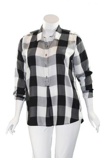 Multiples Plus Size Black/White Check Half Button Blouse M10112TW