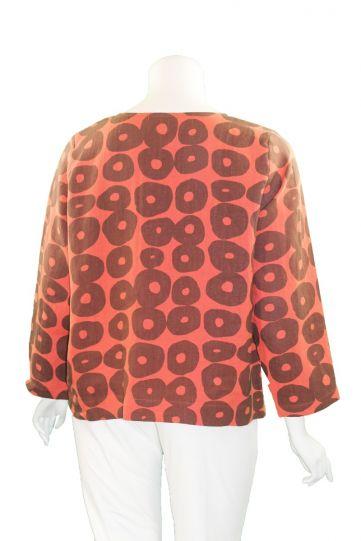 Christopher Calvin Plus Size Orange Pullover Circle Top 7621
