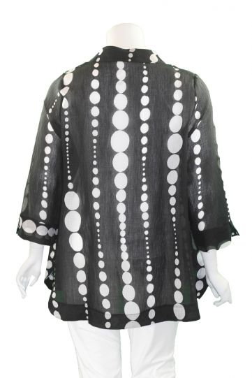 Terra Plus Size Black/White Polka Dot Button Sheer Jacket P4325