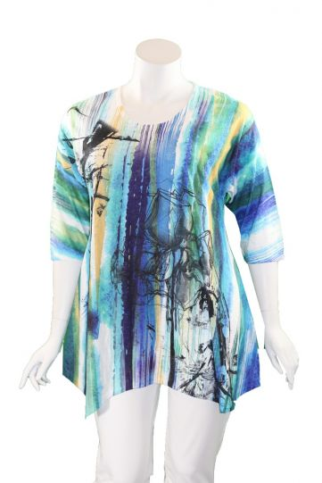 Et' Lois Plus Size Multi Printed Long Pullover Tunic C3281-2020 301