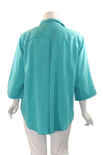 Way Plus Size Turq Button Front Shirt 2400-113
