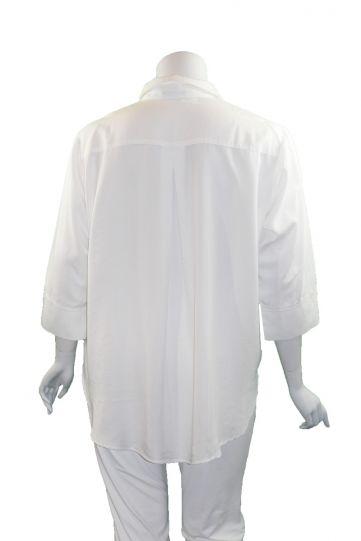 Way Plus Size White Button Front Shirt 2400-3