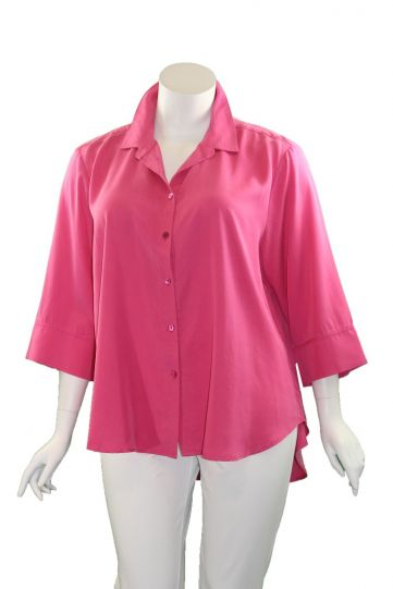 Way Plus Size Pink Button Front Shirt 2400-89