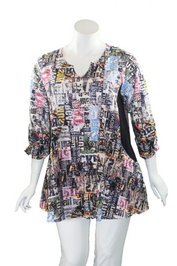 Flutter Plus Size Multi Printed 2 Front Pockets Tunic SH922-20