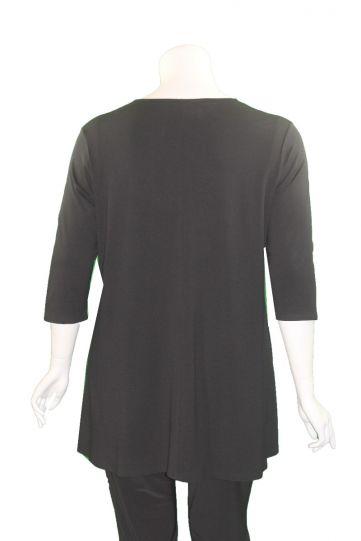 Doris Streich Plus Size Black Half Zip Circle Tunic 472-270-99