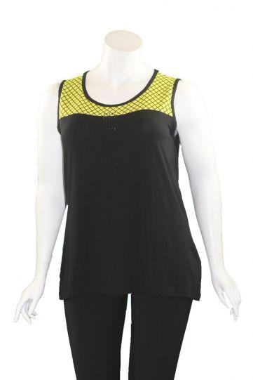 Doris Streich Plus Size Black/Lime Sleeveless Cami 590-120-20