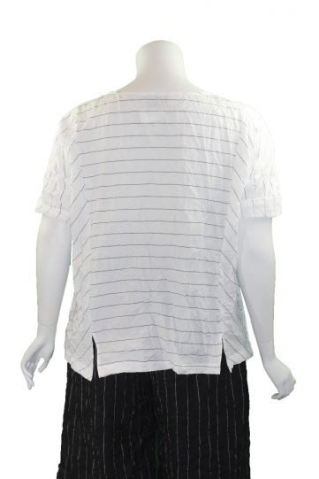 Chalet Plus Size White Striped Crinkle Tasha Top T92618
