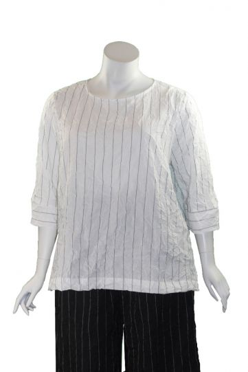 Chalet Plus Size White Striped Crinkle Franne Tunic XT93626