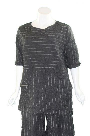 Chalet Plus Size Black Stripe Crinkle Gloria Tunic XT93852