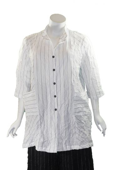 Chalet Plus Size White Striped Crinkle Iael Jacket XT95562