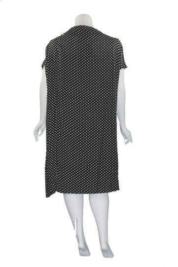 Moyuru Black/Cream Polka Dot Draped Neckline Dress 201718