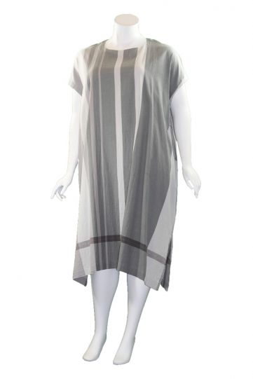 Moyuru Light Grey Striped Pocket Dress 201733-05