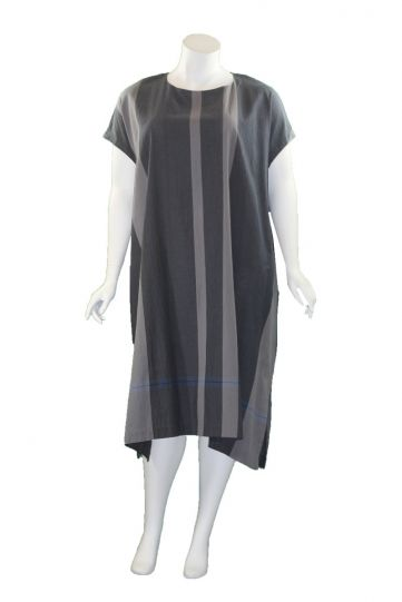 Moyuru Grey Striped Cotton Pocket Dress 201733