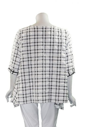 Niche Plus Size White/Black Check Big Pucker Tunic 1202116