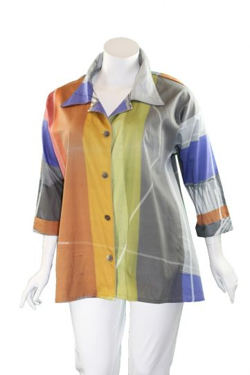 Andrea Geer One Size Grey Printed Poplin Blouse P209-25