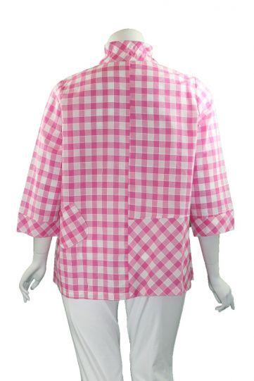 Terra Plus Size Pink Check Button Shirt P4331