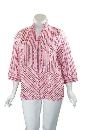 Terra Plus Size Pink Wire Collar Button Shirt P4322