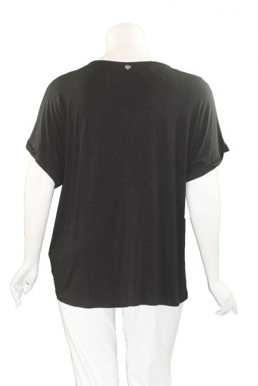 Mat Fashion Black Tie Dye V-Neckline Tie Shirt 7301.1125