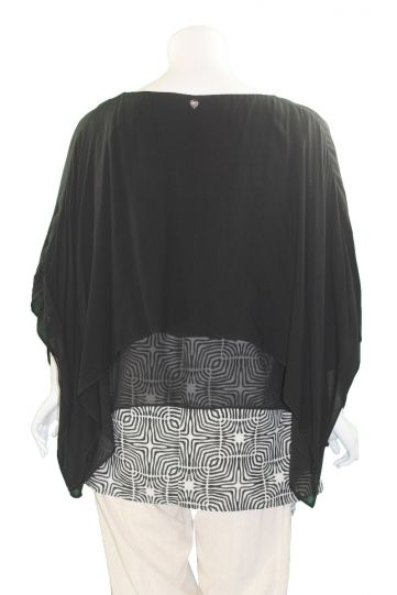 Mat Fashion Black/Tan Layered Tunic 7301.1042