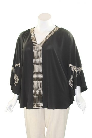 Mat Fashion Black/Tan Embroidered Animal Tunic 7301.1146