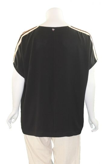 Mat Fashion Black/Tan Striped Short Sleeve Top 7301.1061