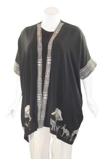 Mat Fashion Black/Tan Animal Kimono 7301.4031