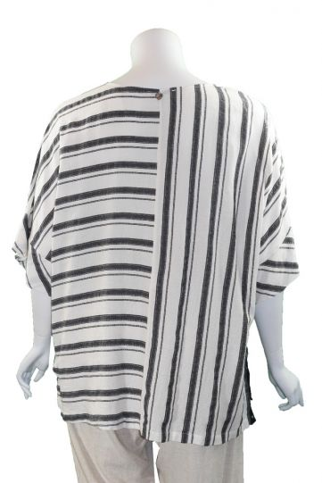Mat Fashion Natural Striped Pullover Over Sized Top 7301.1047