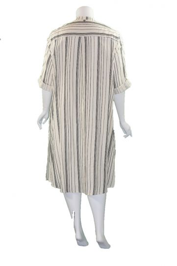 Mat Fashion Natural/Black Striped Button Front Dress/Duster 7301.7121