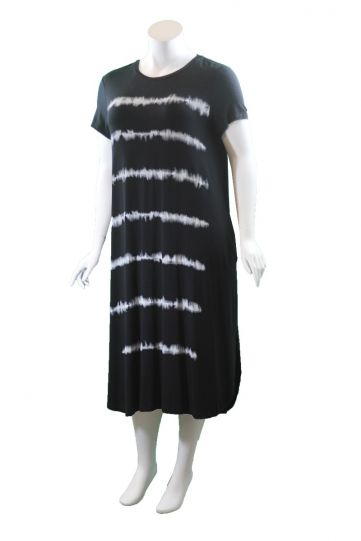 Mat Fashion Black Tie Dye Short Sleeve Dress 7301.7144