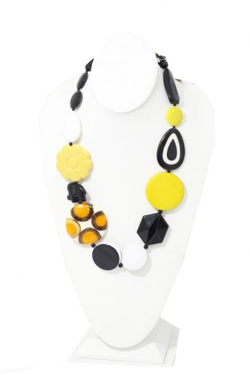 Michaela Malin Yellow/Black Floral Alexa Necklace