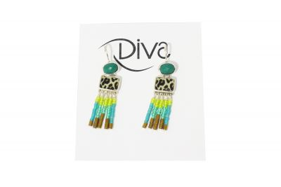 Taratata Green & Leopard Beaded Earring E20-05731-10T