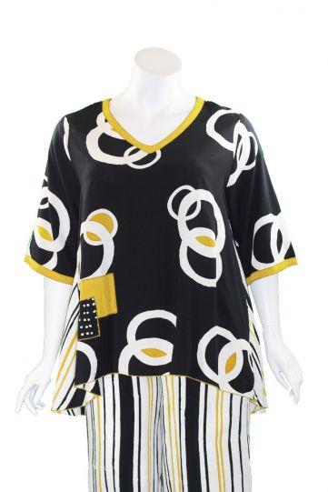 Lyng Designs Plus Size Ladys Black/White/Mustard Joy Blouse NB1504