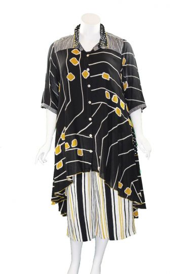 Lyng Designs Plus Size Ladys Black/White/Mustard Meefah Long Top NB1299