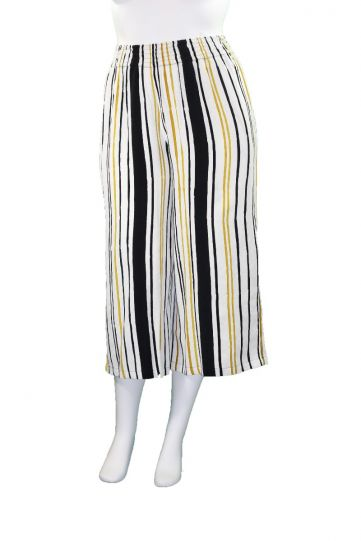 Lyng Designs Plus Size Ladys Multi Striped Palazzo Pant NB3038