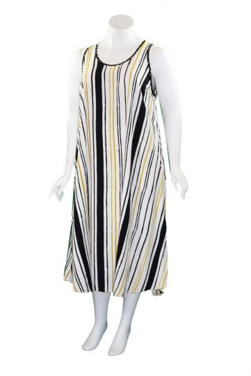 Lyng Designs Plus Size Ladys Multi Striped Swing Dress NB4063
