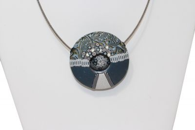 Loretta Lam Blue Clay Circle Wire Necklace P125