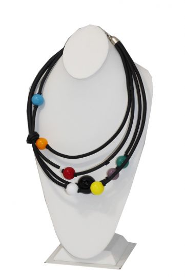 Nikaia Inc Multi Color Glass Beads with Rubber 4 Strand Necklace KLA-AC05