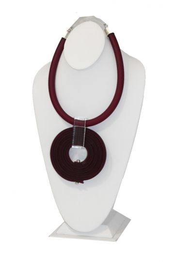 Michaela Malin Maroon Rubber Clear Circle Necklace Eva